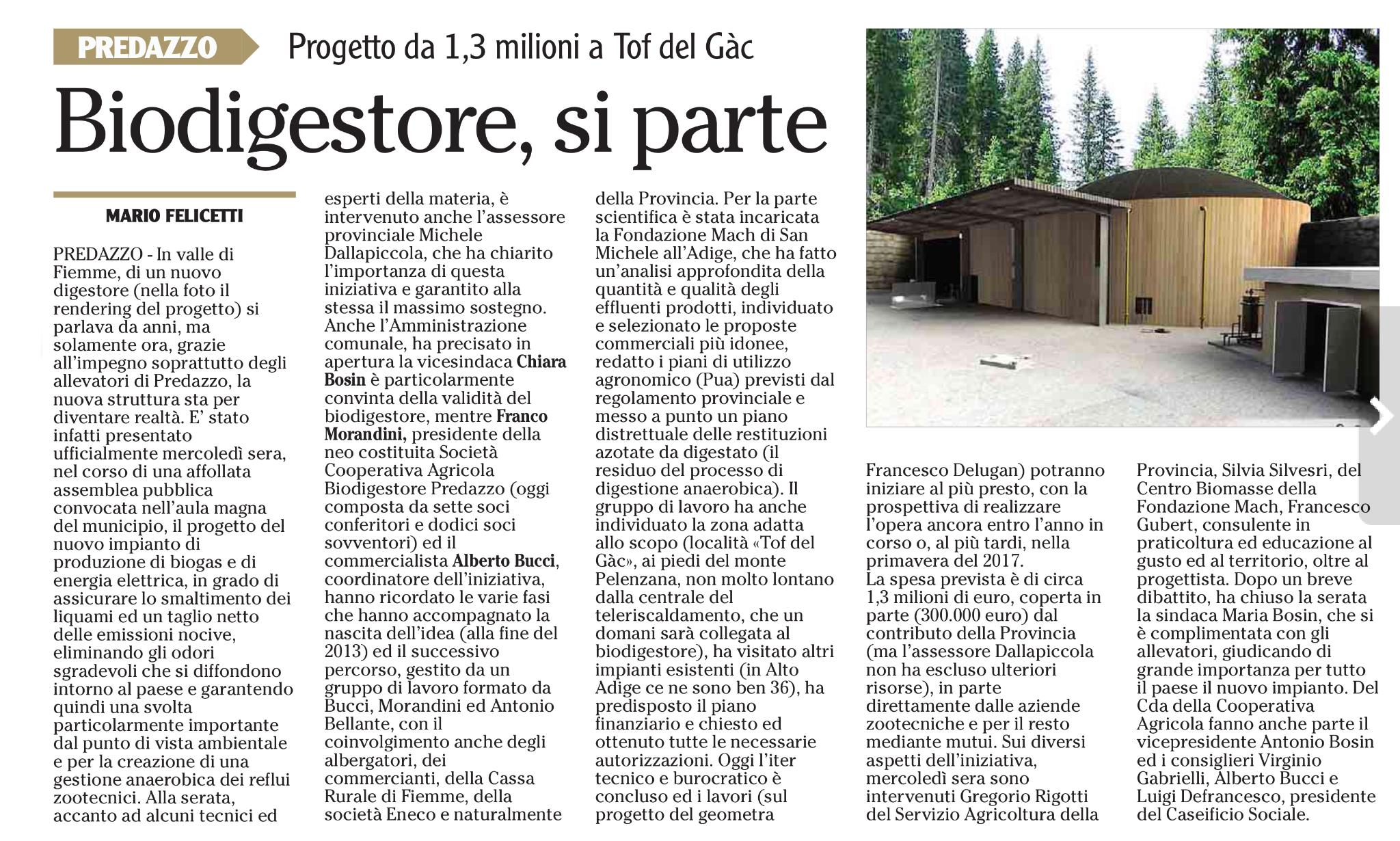 Articolo de l'Adige estratto da pagina 39 del 10 giugno 2016