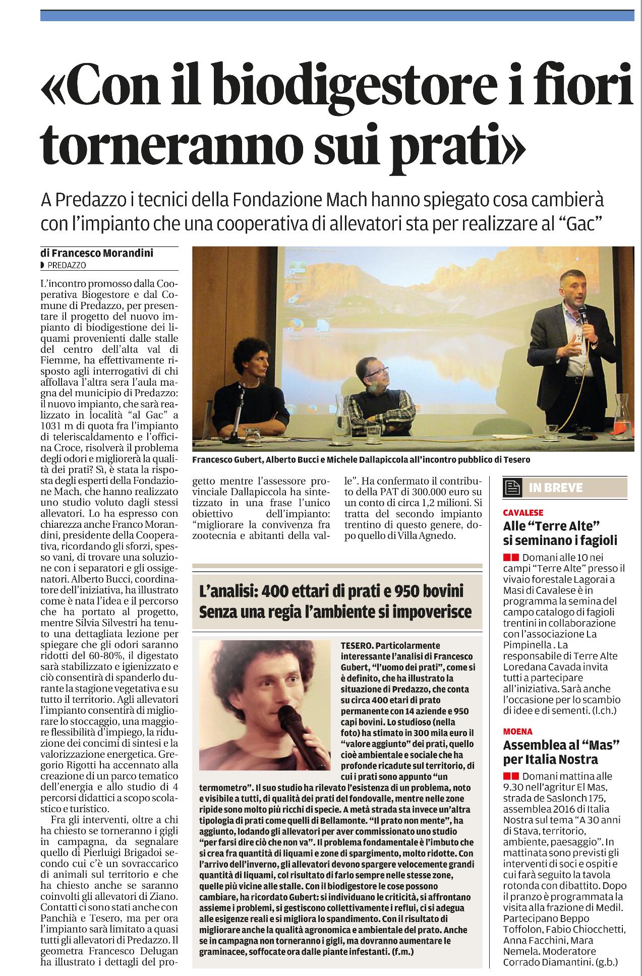 Articolo de il Trentino estratto da pagina 39 del 10 giugno 2016